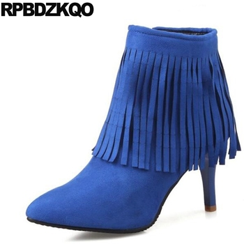 High Heel Shoes Ankle Big Size Autumn Pointed Toe Fringe Side Zip Boots Women Stiletto Booties Cheap Blue 41 Fall Suede 10