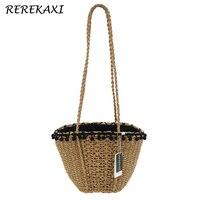 REREKAXI Bohemian Woman S Beach Bag Hand Woven Straw Shoulder Bag Lady Shopping Handbags