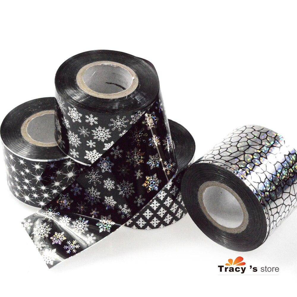 Wholesale 16 Rolls 120m/Roll Nail Art Transfer Foils Black Glitter ...