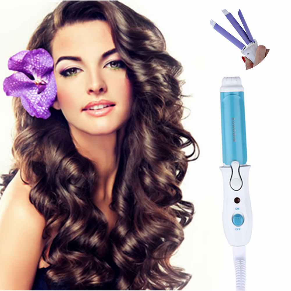 New Mini 2 in 1 Straightening Curling Iron Portable Electric Personal Ceramic Hair Curler Straightener Hair Styling Tools 3 in 1 professionals tourmaline ceramic hair straightener straightening corrugated iron hair curler styling tools km1213