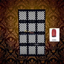 1PC Diamond Mesh Grid Pattern Black Hollow Nail Art Sticker DIY Manicure Polish UV Gel Nail Stencil HBV201 Tool Guide Nail Decal