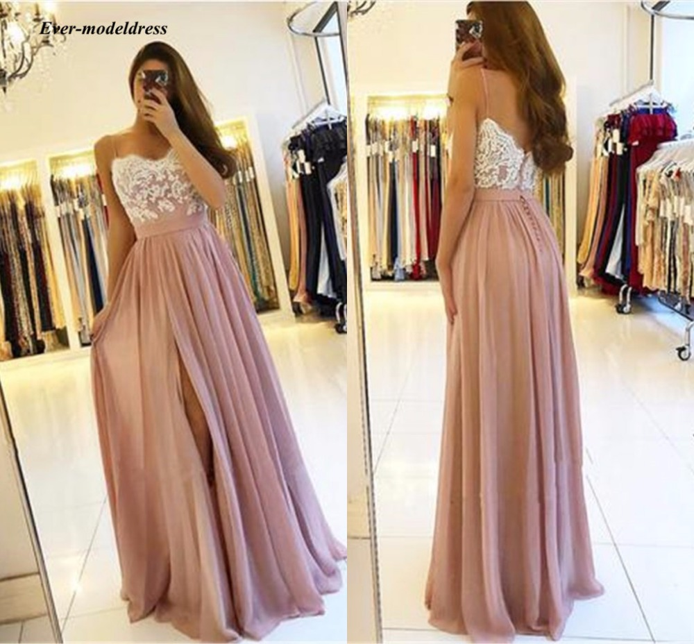2019 Blush Pink Long   Bridesmaid     Dresses   High Side Split Spaghetti Straps A-Line Appliques Chiffon Sexy Back Wedding Guest Gowns