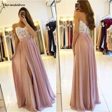 2020 Blush Pink Long Bridesmaid Dresses High Side Split Spag