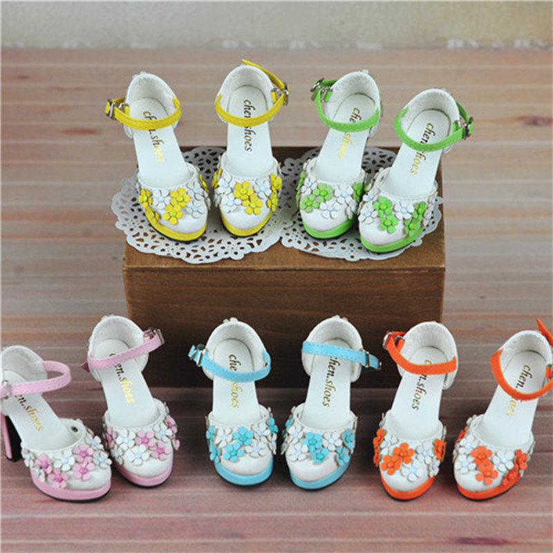 1/4 1/3 BJD Doll flower high heels shoes - SD16 DD female MSD MDD 1pair new fashion sd bjd doll accessories casual shoes for bjd doll 1 4 1 3