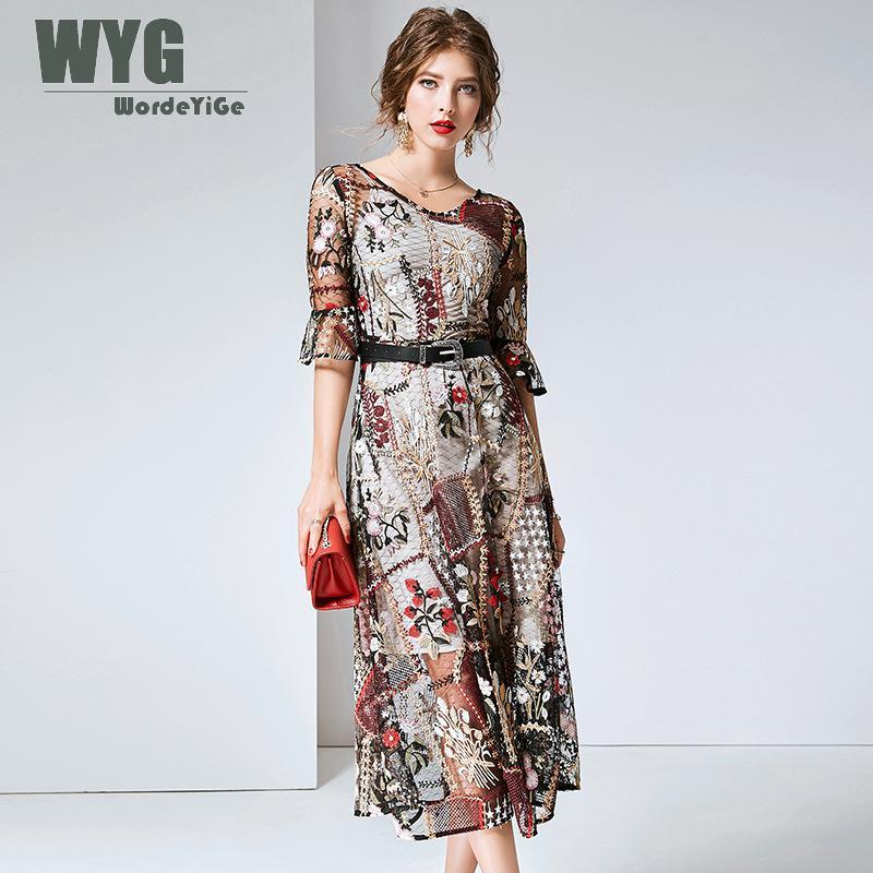 Винтажное платье с вышивкой 2019 Лето Высокое качество Подиум модный топ с коротким рукавом A lined элегантные сетчатые Платья Vestidos