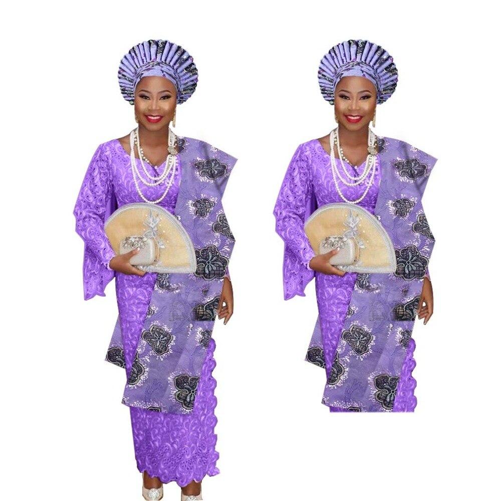 New arrived aso oke for african wedding auto gele with shoulder gele together