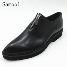 Fashion Leather Men Formal Dress Shoes Pointed Toe Black Bullock Oxfords Shoes For Men Lace Up Luxury Men Business Shoes fx3