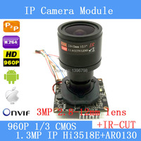 IPC (960P) 3MP 2.8 ~ 12mm manual Zoom LENs 1/3 CMOS AR0130 + Hi3518E CCTV IP camera module board with LAN cable + IRC filter
