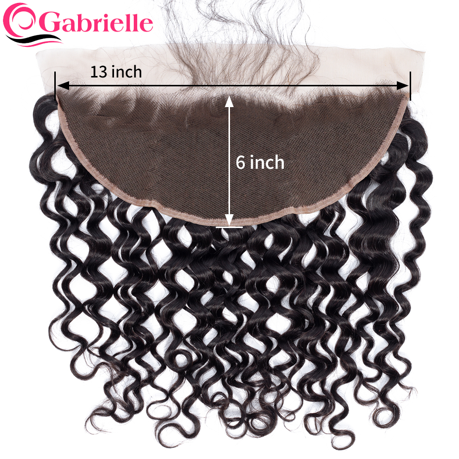 Gabrielle Human-Hair Hair-Extensions Frontal Water-Wave-13x6 Pre-Plucked Brazilian Remy