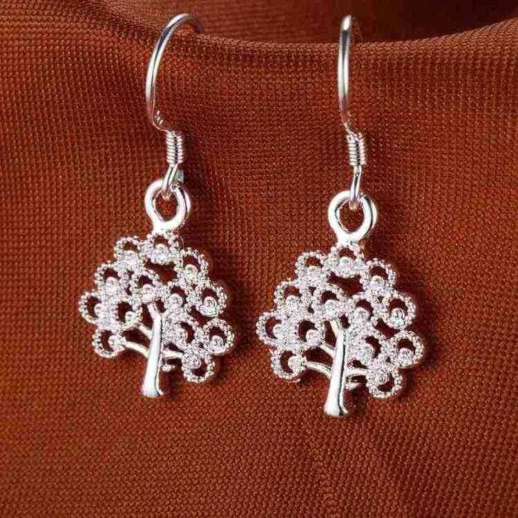 Venta al por mayor joyería de moda pendientes de plata para mujer anzuelo árbol de Navidad PR077