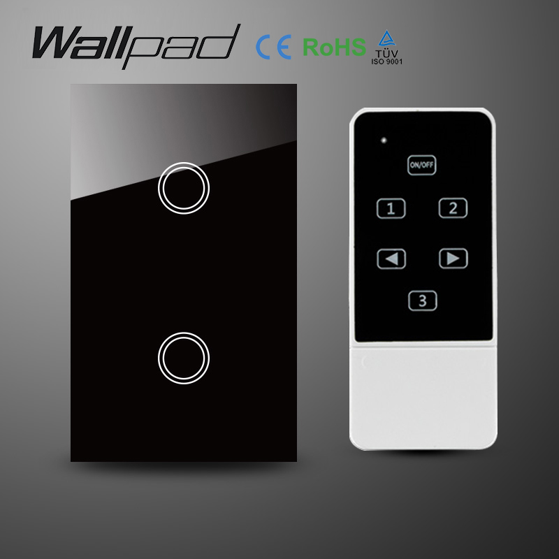 US Wallpad 2 Gang Crystal Glass Black Touch Wifi Light Switch,118  Wireless Remote control wall touch light switch,Free Shipping us standard touch remote control light switch 3gang1way black pearl crystal glass wall switch with led indicator mg us01rc