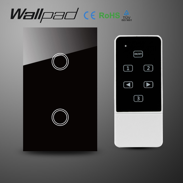 Us wallpad 2 gang crystal glass black touch wifi light switch118 us wallpad 2 gang crystal glass black touch wifi light switch118 wireless remote control mozeypictures Gallery