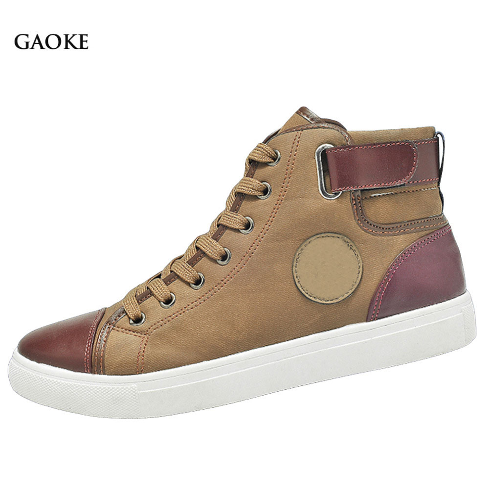 2016 Men Shoes Sapatos Tenis Masculino Male Autumn Winter Front Lace-Up Leather Ankle Boots Shoes Man Casual High Top Canvas Men 2016 autumn and winter fashion high top shoes male pointed toe leather casual shoes men s ankle boots