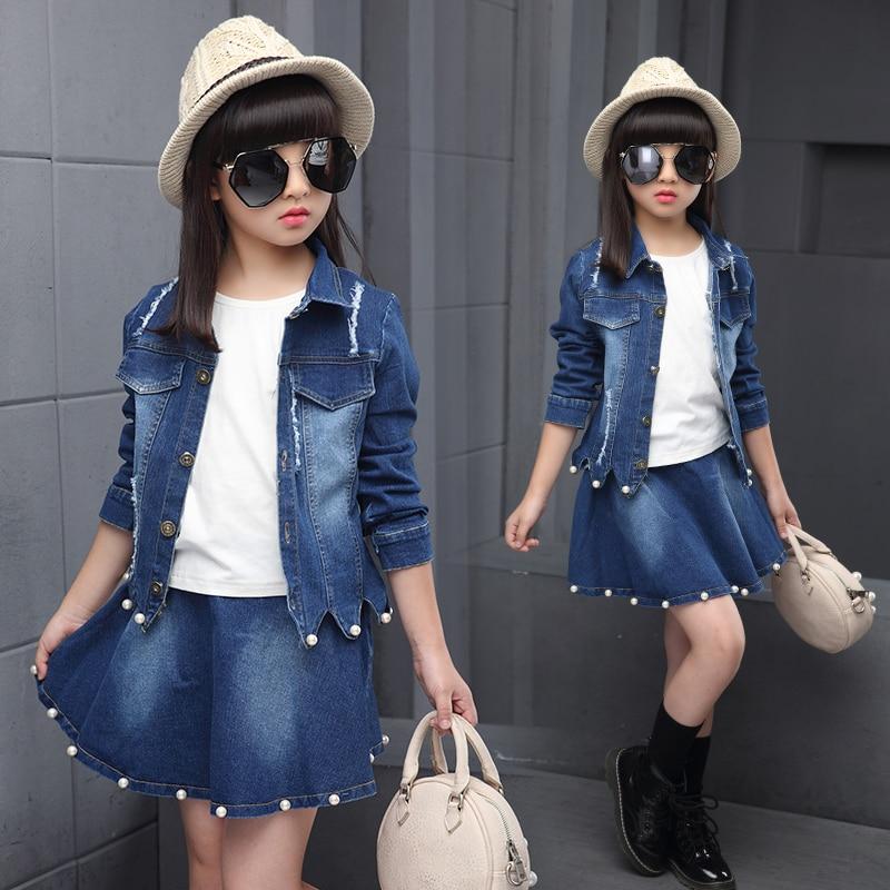2018 Spring Girls Denim Suit Children's Clothing Set Female Child Pearls Splicing Denim Coat + Skirt Twinsets Kids Clothes A143 цена 2017