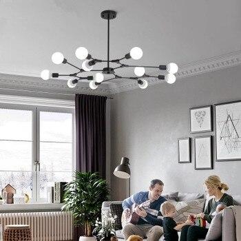 Designer Chandelier Lustres Pendente E27 Lampshades Lightings Black Chandeliers For Living Room LED Kitchen Lights