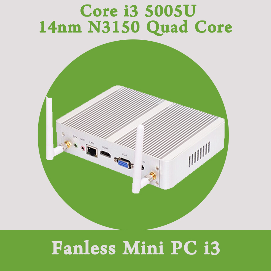 Fanless Mini PC Windows 10 Barebone Nuc Intel Core i3 5005U 2GHz HD 5500 Graphics Micro