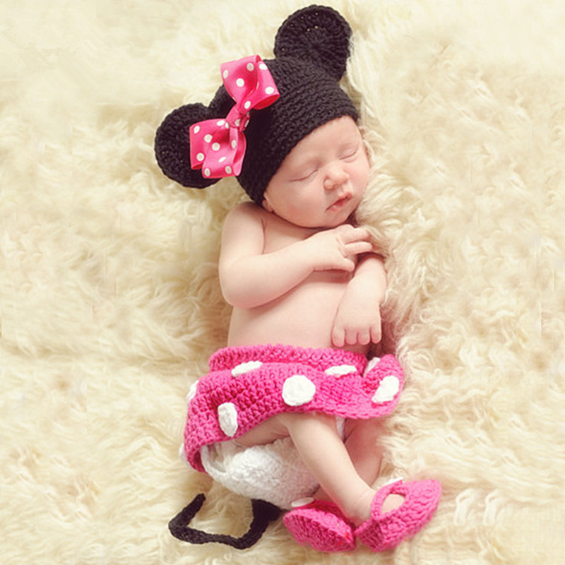 Crochet Baby Photography Props  Baby Girl Knitted Photography Costume Mouse Hat+Skirt+Shoes Set Baby Photo Props Accessories
