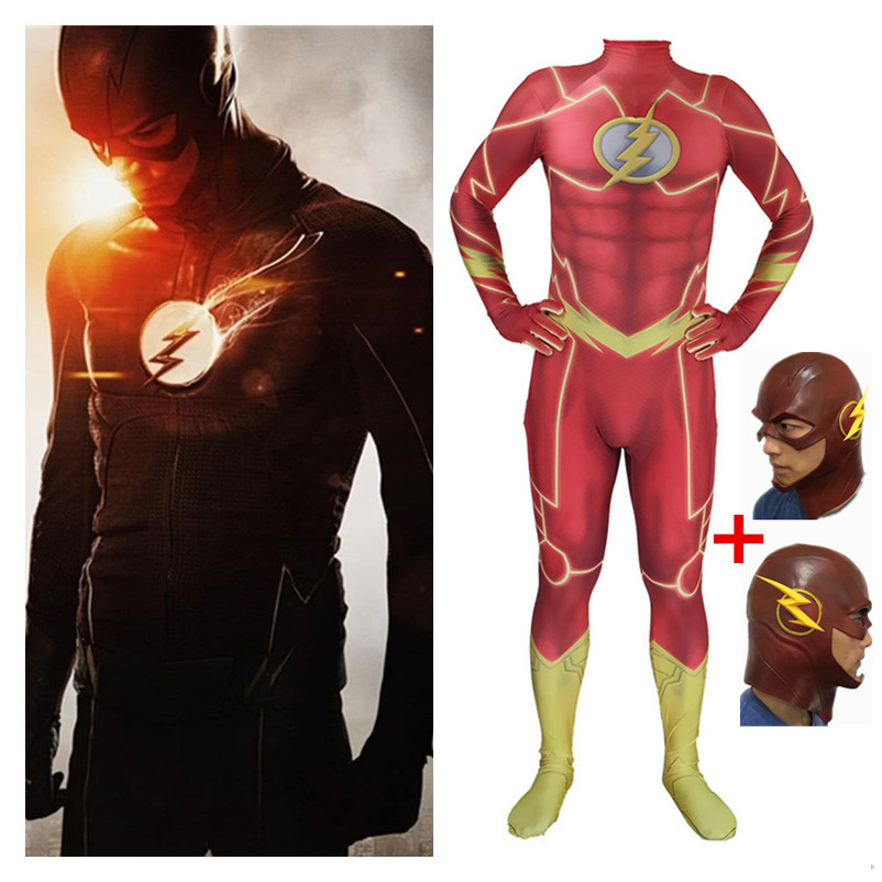 Anime Movie Barry Allen The Flash Cosplay Costumes Kids Boys Adult Spandex Zentai Jumpsuits With Latex Mask Bodysuits Suit New