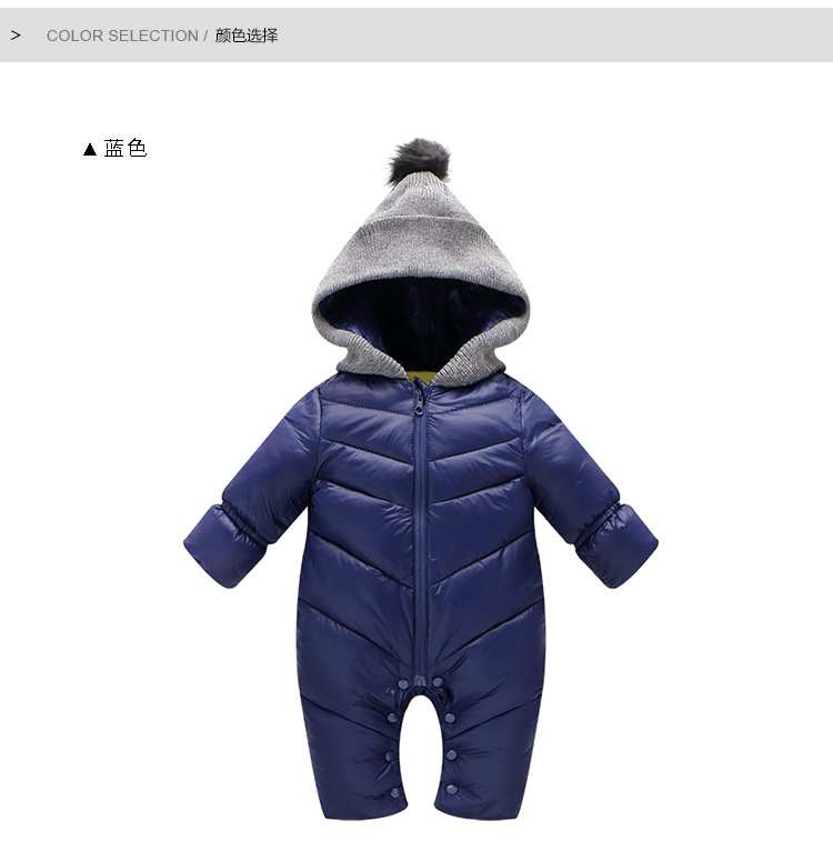 High quality winter Baby Rompers Newborn Thick warm Baby Girl clothes coat Baby Cute Hooded Jumpsuit Newborn Baby Boy Clothes