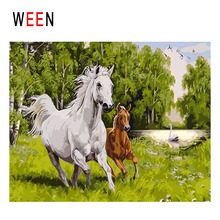 WEEN Horse Run Grassland Diy Painting By Numbers Abstract Animal Oil Painting On Canvas Swan Cuadros Decoracion Acrylic Wall Art блуза by swan by swan by004ewtlp79
