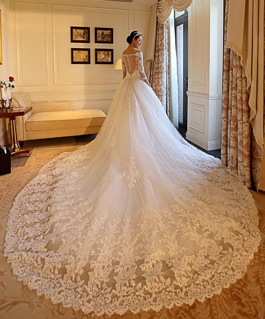 nuevo estilo de lujo catedral tren vestido de novia 3/4 de la manga