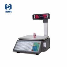 Báscula electrónica con impresión de código de barras, capacidad de almacenamiento de datos 10000 PLUs para tienda de carne o frutería de supermercado