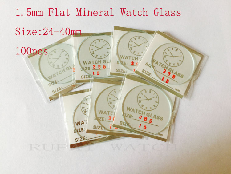 100pcs 1.5mm 25 to 40mm Flat Mineral Watch Crystal/Glass in Good Quality for Watchmakers