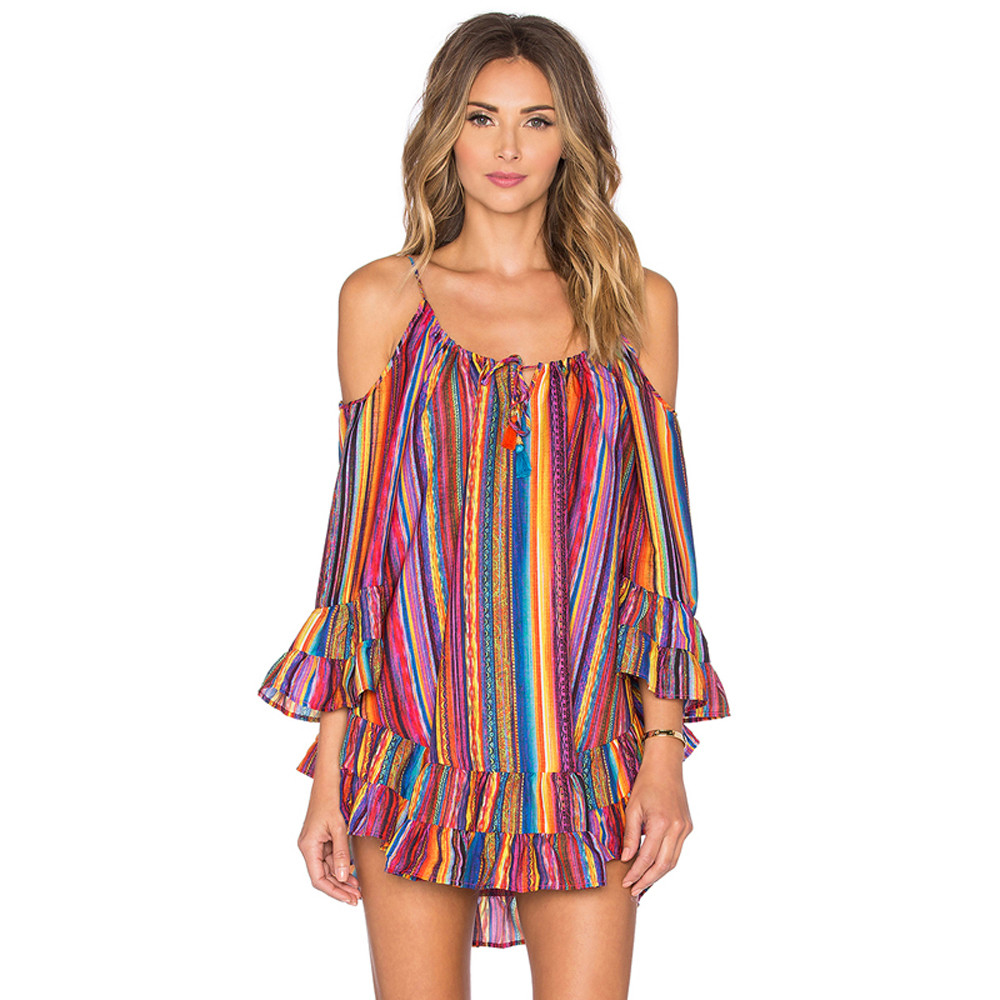 Womens Summer Rainbow Print Fringed Beach Dress Loose Chiffon Strap Dress 2018 Fashion Jurken Zomer Dames