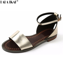 New Solid Flat Sandals Soft Leather