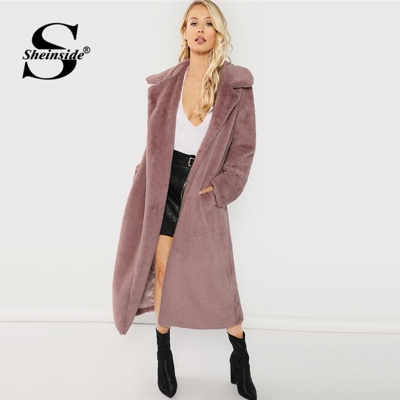 Sheinside Pink Open Front Faux Fur Teddy Coat Autumn Winter Clothes Women Jacket 2018 Elegant Outerwear