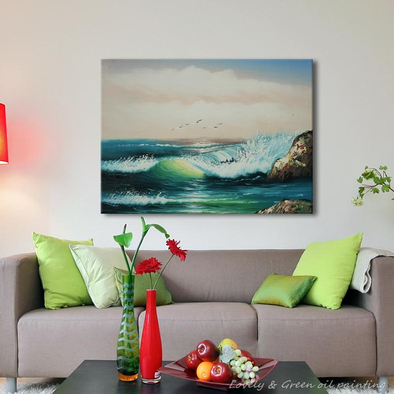 Handmade Seascape Oil Painting Realistic Art Painting Beautiful Seaside Home Decorative Art Picture Paint on Canvas 50X60CM