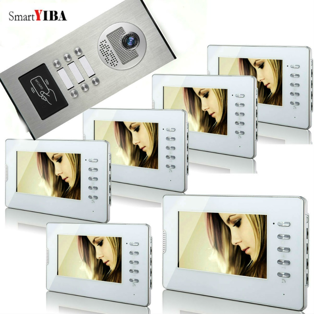 SmartYIBA Apartment Wired Video Door Phone Intercom System 7Inch LCD Color Monitor and Infrared Night Vision RFID Access Unlock smartyiba wired 7inch monitor video intercom door phone doorbell system outdoor rfid access camera intercom for 5 apartment