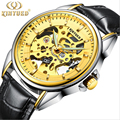 KINYUED gold watches men Sport Military skeleton watches automatic mechanical watches the wind began to strap relogio masculino