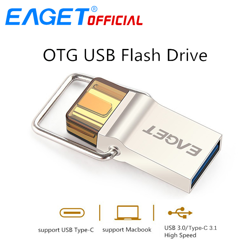 EAGET Type-C USB 3.0 Disk USB Flash Drive 64GB Pen Drive 16GB 32GB OTG Metal USB Flash Stick Disk For HUAWEI PC for Type-C Phone
