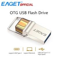USB EAGET סוג-C 3.0 דיסק כונן עט כונן USB Flash 64 GB 16 GB 32 GB OTG דיסק פלאש USB מקל המתכת עבור HUAWEI PC עבור סוג-C טלפון