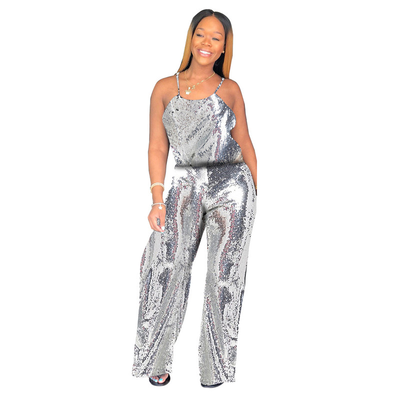 Fashion Sparkle Glam Sequin Jumpsuit Women Wide Leg Pants Jumpsuit Solid Party Nightclub Casual Sexy Spaghetti Strap Rompers
