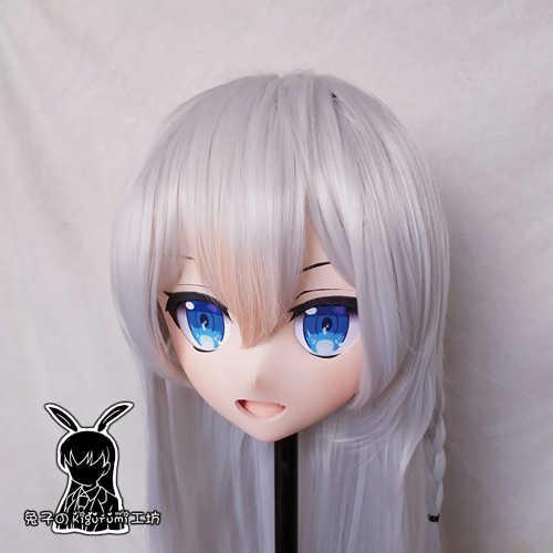 (KM5137) Qualidade Artesanal Feminino/Resina 3/4 Cabeça Da Menina Personagem de Desenho Animado Japonês Vtuber Cosplay Kigurumi Máscara Crossdresser