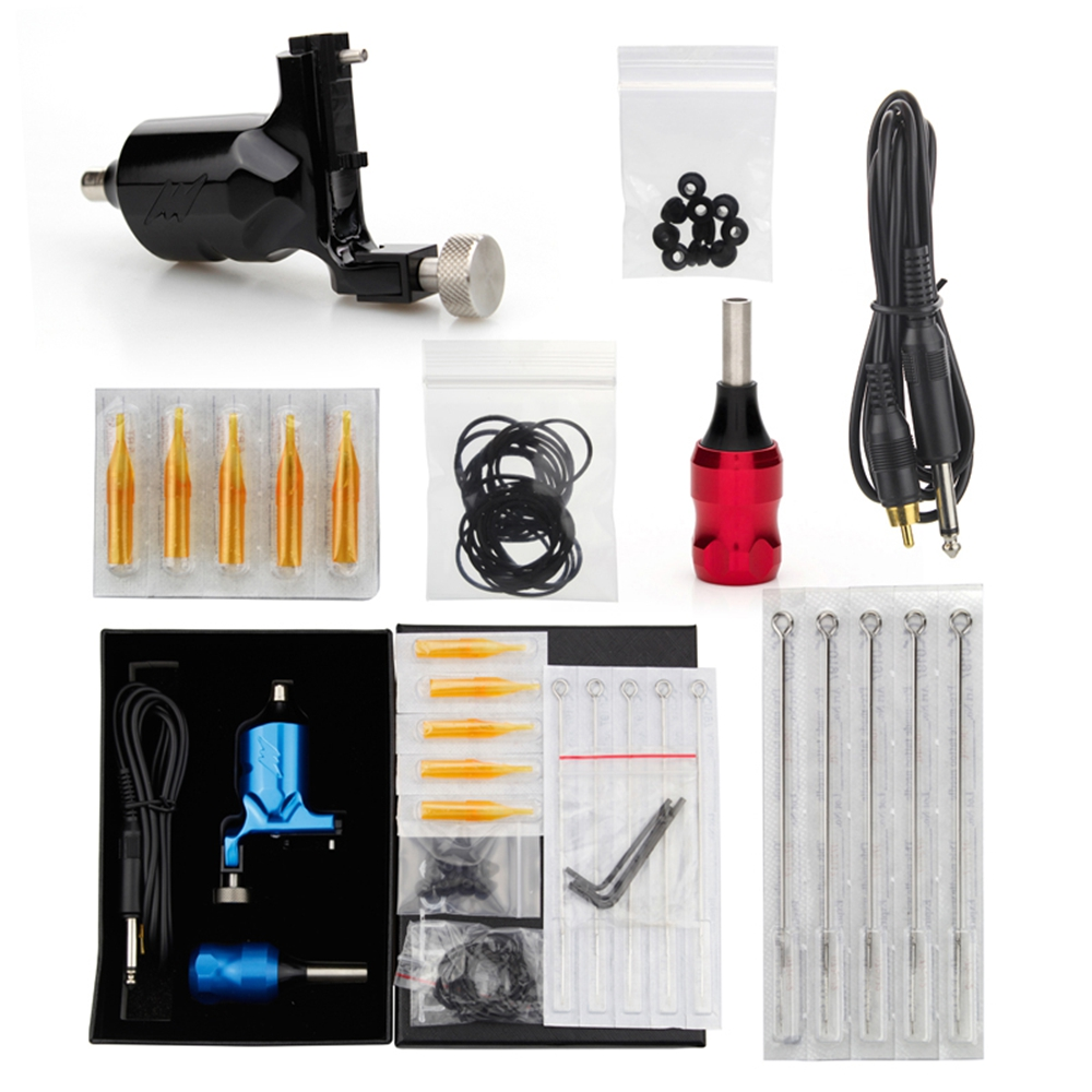 Professional Tattoo Kit With Rotary Tattoo Macine+Tattoo Grip+Tattoo Needles & Tips+RCA Cord+Tattoo accessories Free Shipping europe god of darkness robert recommend gp self lock grips gp3 professional tattoo artist grip