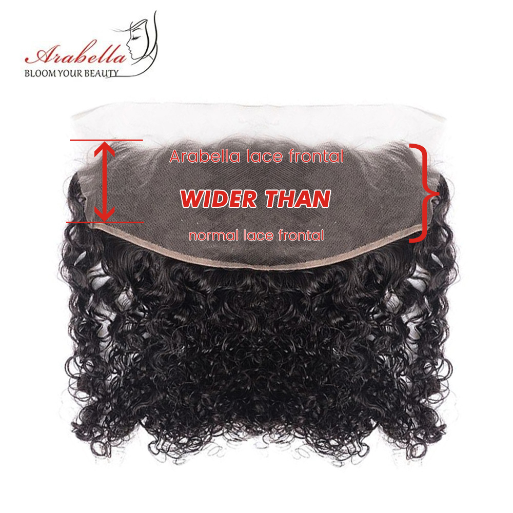 Curly Hair Bundles With Frontal 100%  Arabella  Hair Natural Color Pre Plucked 13*4 Lace Frontal With Bundles 6