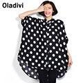 Polka Dot preto Branco de Grandes Dimensões Chiffon Blusa para As Mulheres Verão 2016 nova Camisa Longo Casual Solto Lady Tops Plus Size 6XL 7XL 8XL