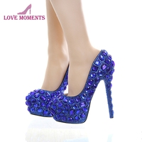 Royal Blue Rhinestone Bridal Dress Shoes Super High Heel Wedding Party Prom Shoes Blue Crystal Christmas Party Pumps Women Shoes