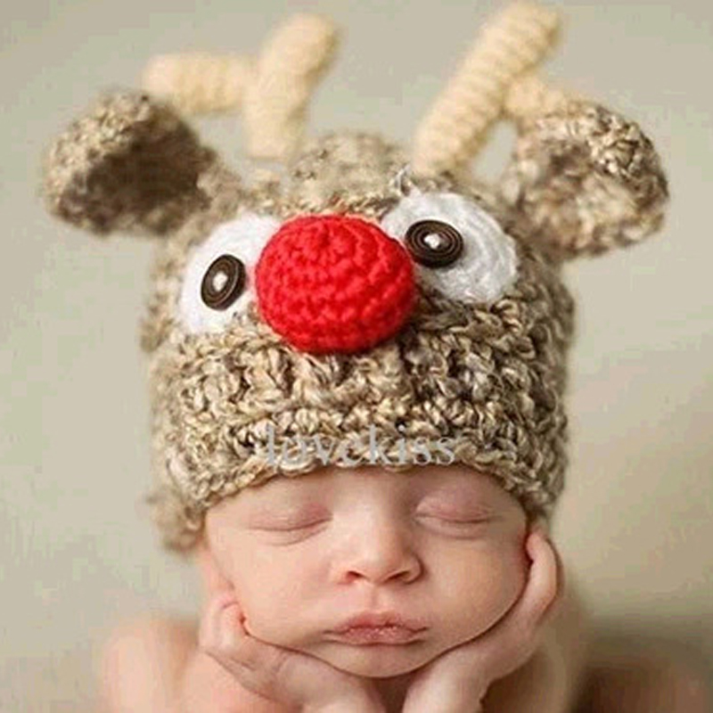 Deer Style Knitted Baby Caps Cute Baby Photography Props Soft Plaited Newborn Hat Baby Girls Boys Crochet Beanie Toddler Cap
