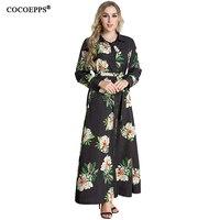 6xl 7XL 2017 New Women Floral Print Plus Size Dress Autumn Elegant Vintage Long Clothing Large