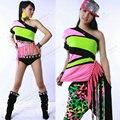 Novas mulheres moda dançar Tops Neon borla oblíqua t-shirt ds roupas fase jazz hip-hop hiphop ds trajes de desempenho de T - camisas