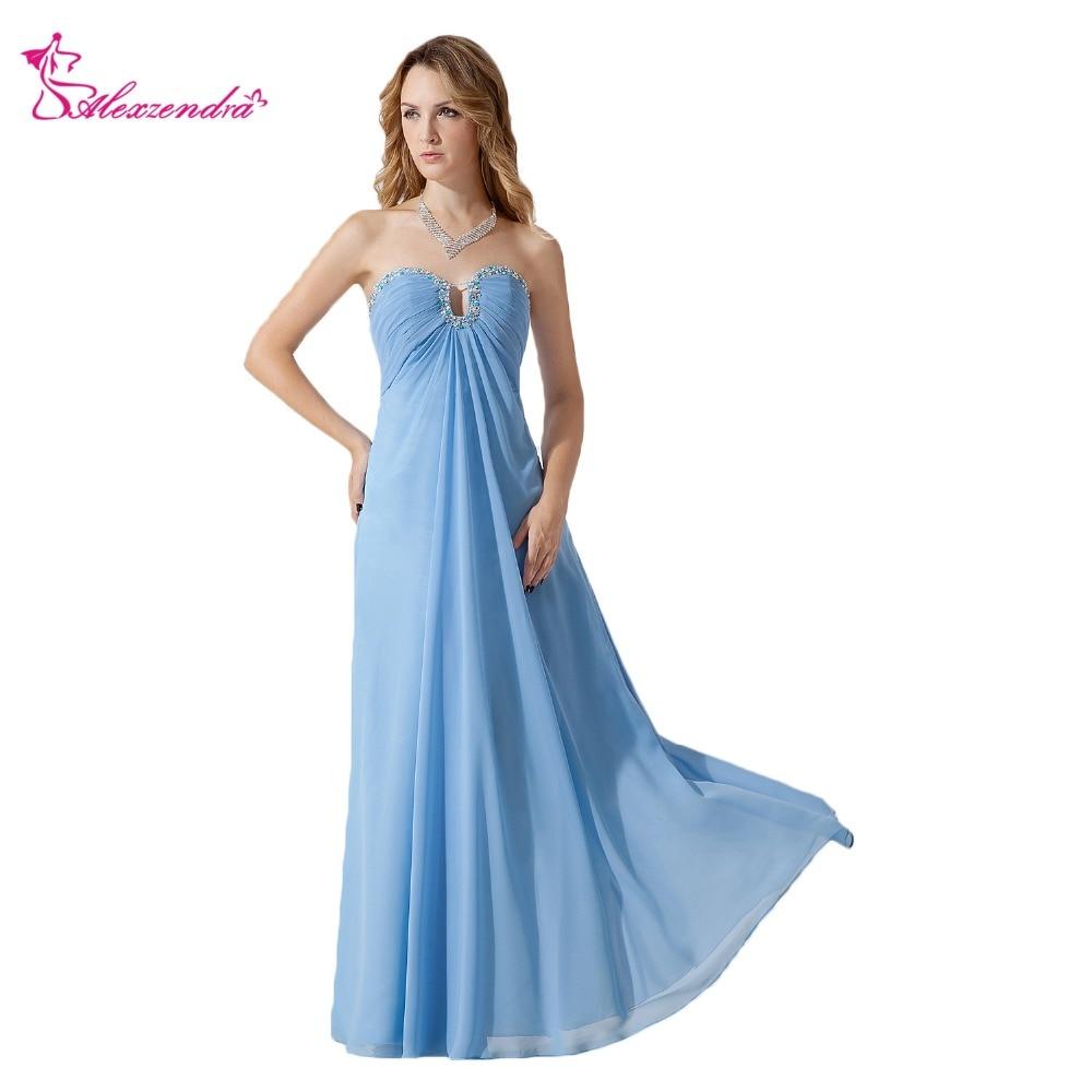 Alexzendra Blue Chiffon Long Sweetheart New   Prom     Dresses   Beaded Evening   Dress   Party   Dresses   Plus Size