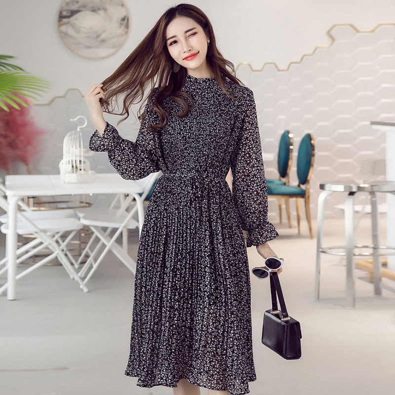 Chic Leaves Printed Dress Long Sleeve S-XXL Loose All-match Fashion Pleated Midi Chiffon Elegant Red Womens Dresses Black