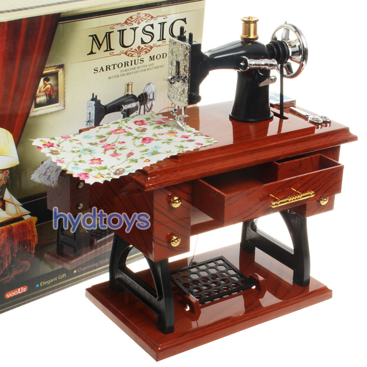 Fashion holiday gift music box traditional sewing machine for Application box decoration