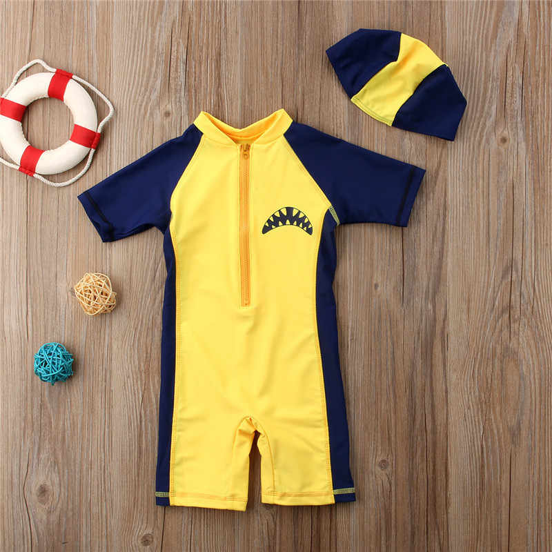 4fd37342fded ... Summer New Baby Kids Boys Shark Beach Swimwear Hat Swimsuit Clothes  Swimming Costume ...