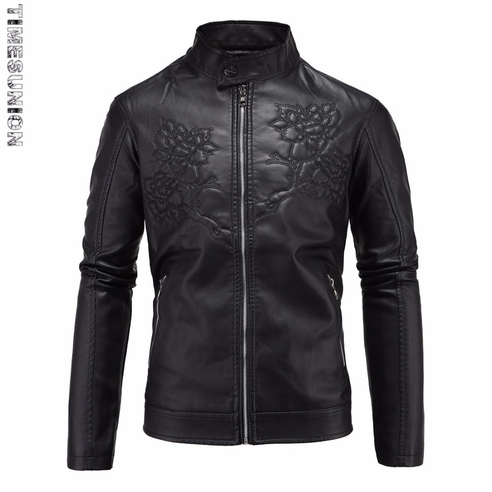 Thick Warm Leather Jacket Men Leather Jackets And Coats Jaqueta De Couro Masculina Embossed Leather Mens Punk Veste Cuir Homme