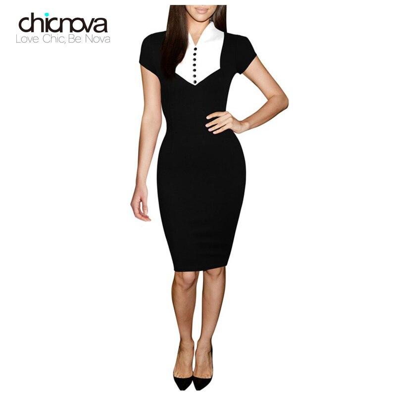 Women Formal Bodycon Dress Short Sleeve Pencil hip Dresses Office Lady Block Dress Work Clothing TC25801010044 short dresses office wear